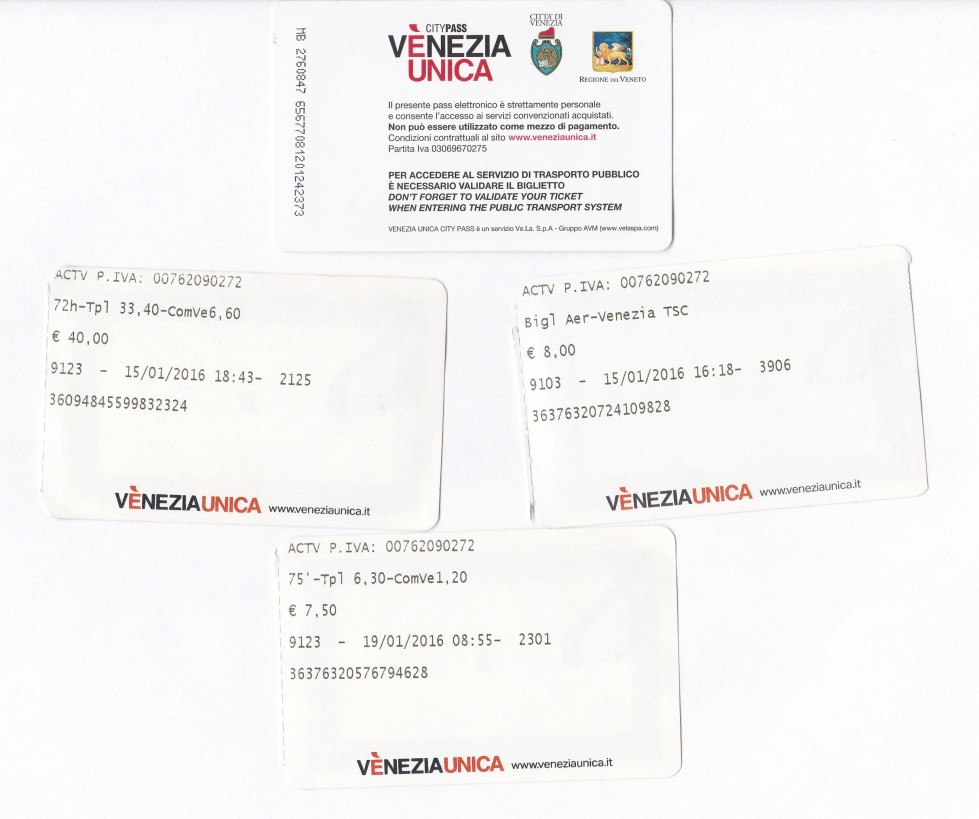 Venice vaporetto tickets